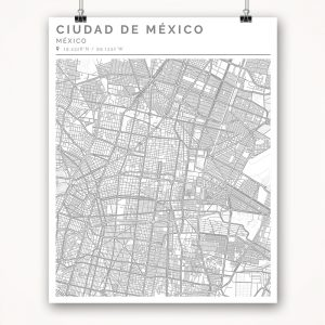 Mapa con estilo Clean de Ciudad de México - 40 x 50