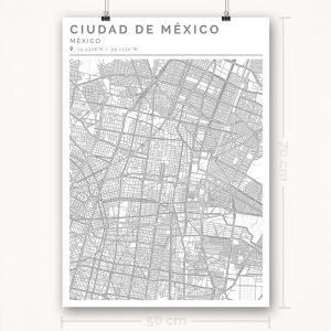 Mapa con estilo Clean de Ciudad de México - 50 x 70