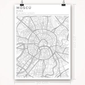 Mapa con estilo Clean de Moscú - 30 x 40