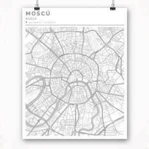Mapa con estilo Clean de Moscú - 40 x 50