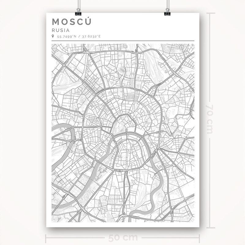 Mapa con estilo Clean de Moscú - 50 x 70