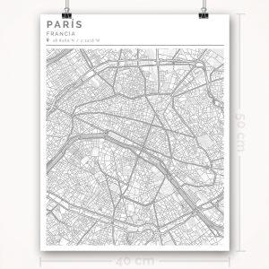 Mapa con estilo Clean de París - 40 x 50