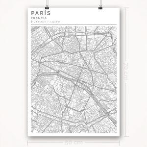 Mapa con estilo Clean de París - 50 x 70