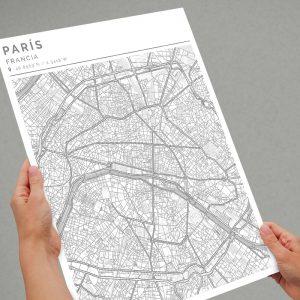 Mapa con estilo Clean de París