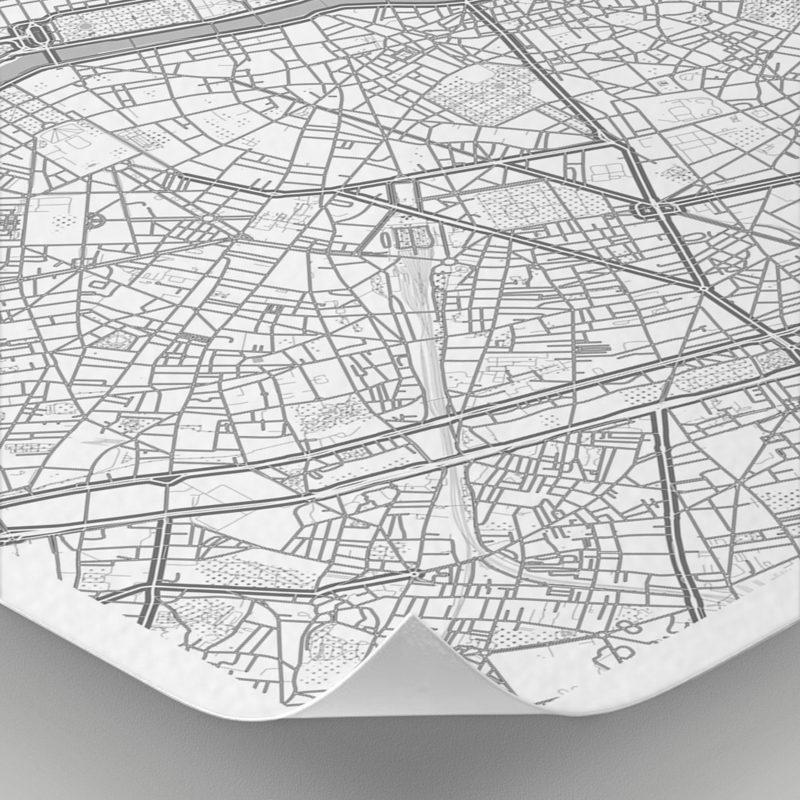 Detalle del mapa con estilo Clean de París