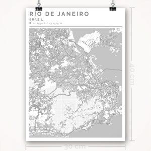 Mapa con estilo Clean de Río de Janeiro - 30 x 40