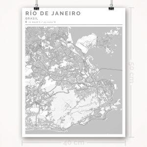 Mapa con estilo Clean de Río de Janeiro - 40 x 50