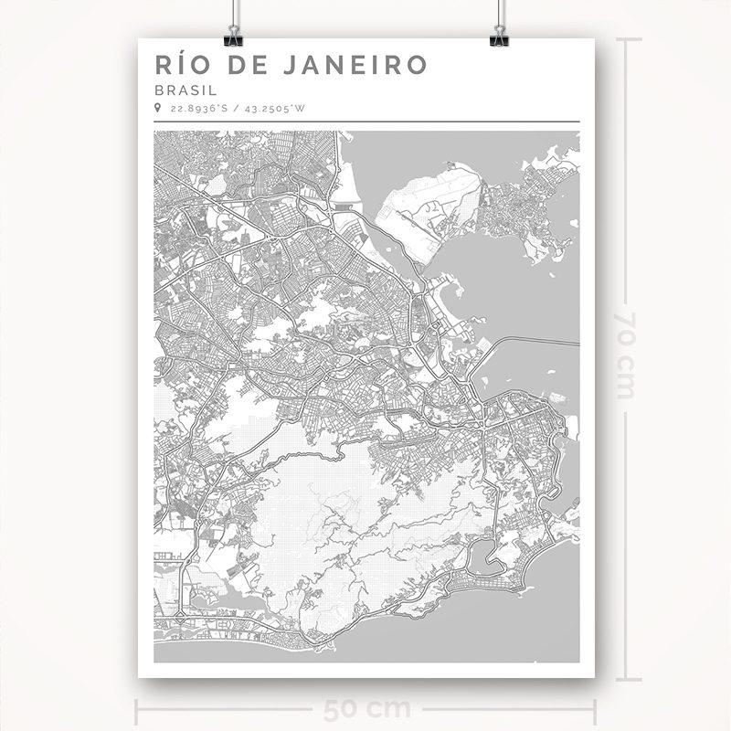 Mapa con estilo Clean de Río de Janeiro - 50 x 70