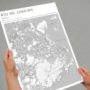 Mapa con estilo Clean de Río de Janeiro