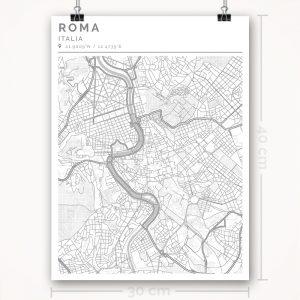 Mapa con estilo Clean de Roma - 30 x 40