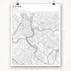 Mapa con estilo Clean de Roma - 40 x 50