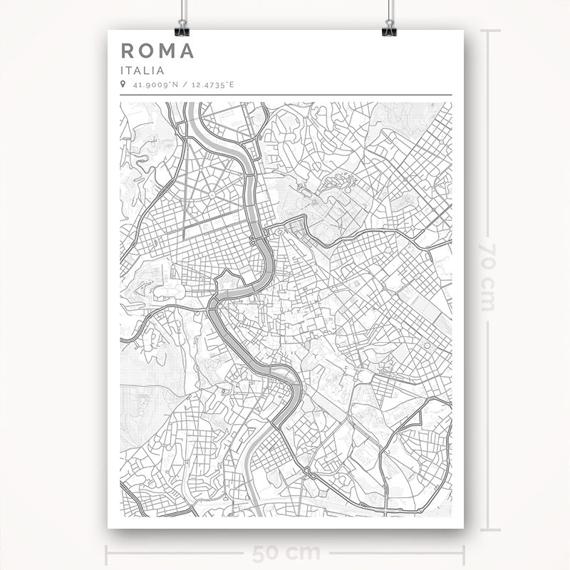 Mapa con estilo Clean de Roma - 50 x 70