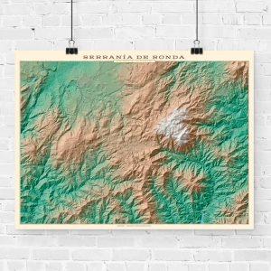 Mapa topográfico de la Serranía de Ronda