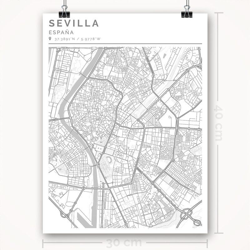 Mapa con estilo Clean de Ciudad de Sevilla - 30 x 40