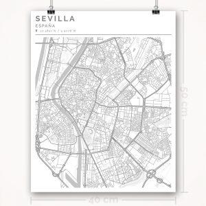 Mapa con estilo Clean de Ciudad de Sevilla - 40 x 50