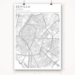 Mapa con estilo Clean de Ciudad de Sevilla - 50 x 70