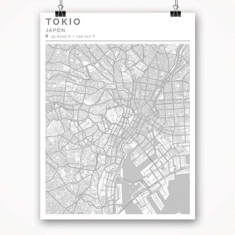 Mapa con estilo Clean de Tokio - 30 x 40
