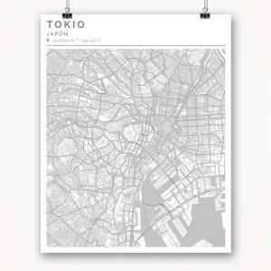Mapa con estilo Clean de Tokio - 40 x 50