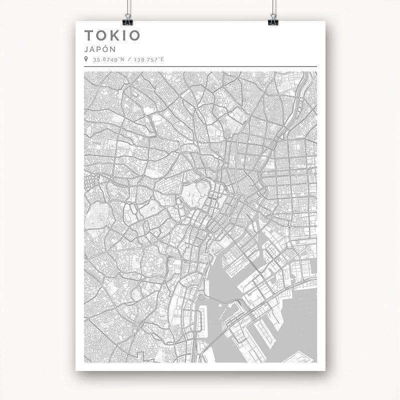 Mapa con estilo Clean de Tokio - 50 x 70