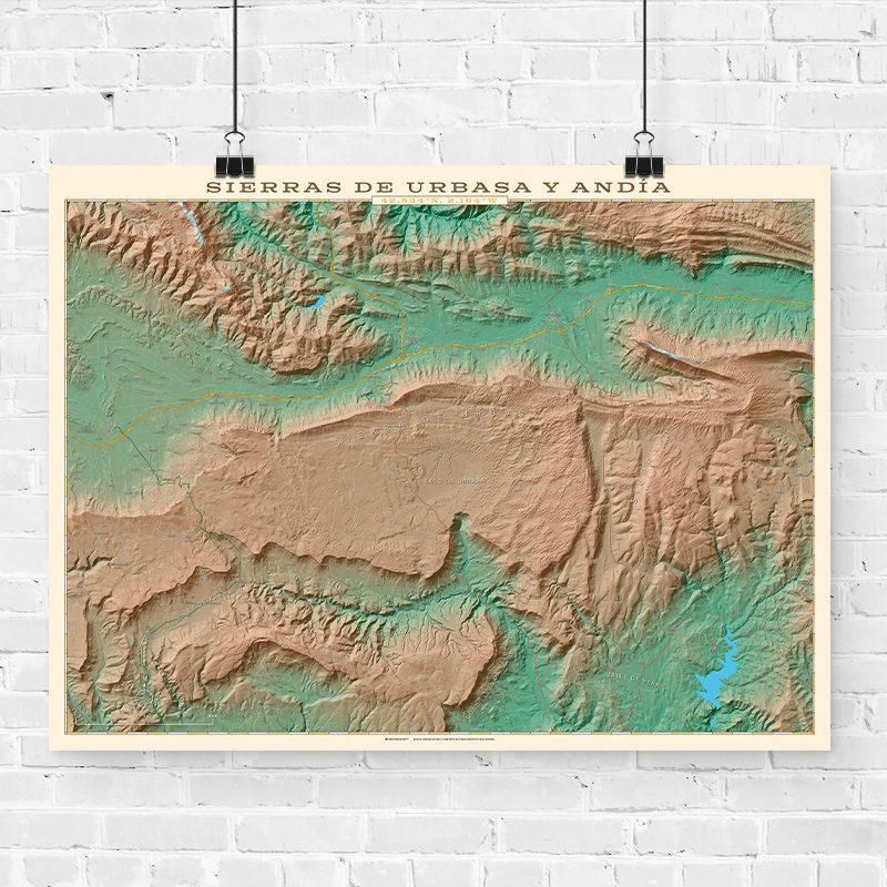 Mapa topográfico de la Sierras de Urbasa y Andía