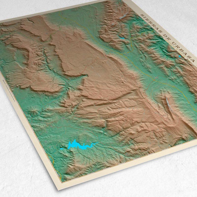 Detalle del mapa de la Sierras de Urbasa y Andía