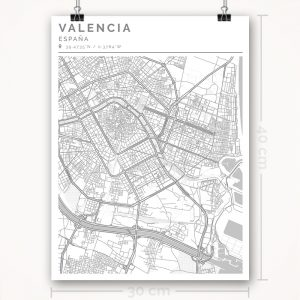 Mapa con estilo Clean de Valencia - 30 x 40