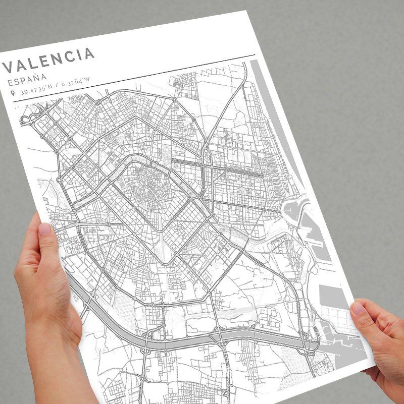 Mapa con estilo Clean de Valencia