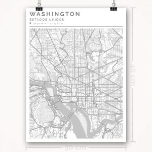 Mapa con estilo Clean de Washington - 30 x 40