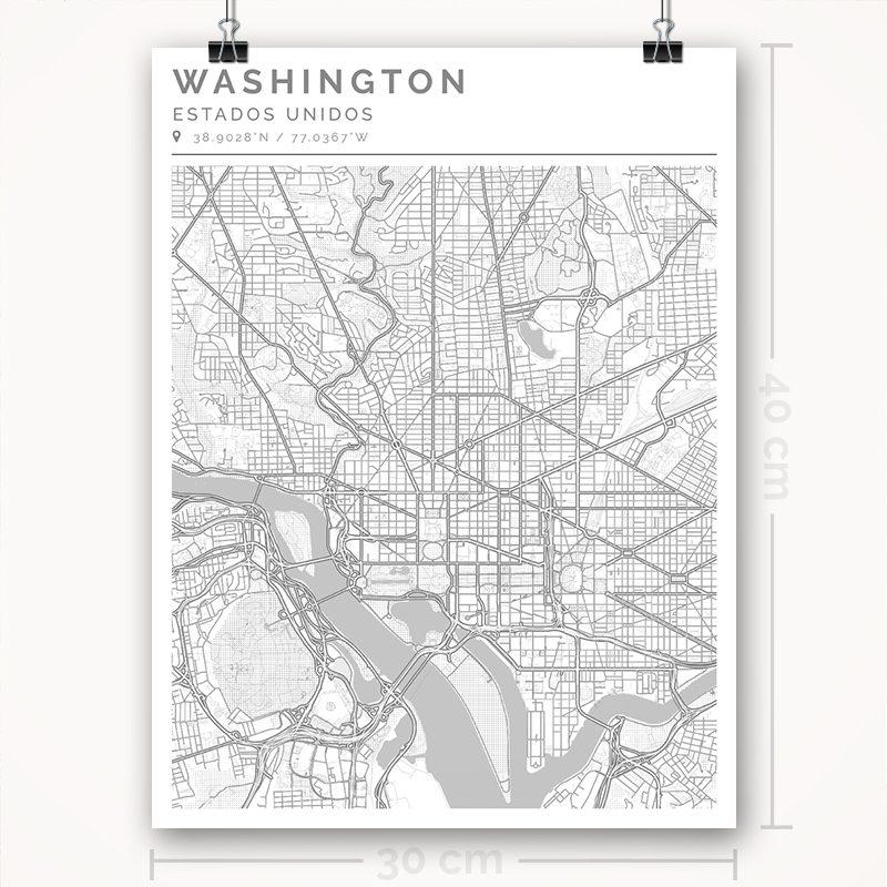 Mapa con estilo Clean de Washington - 30 x 40