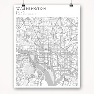 Mapa con estilo Clean de Washington - 40 x 50