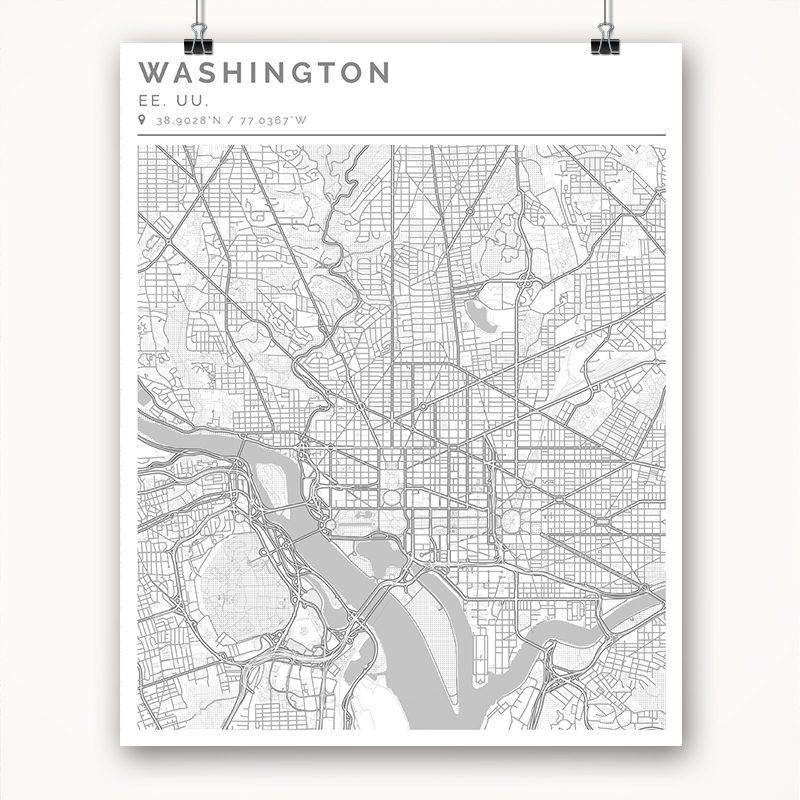 Mapa con estilo Clean de Washington - 40 x 50