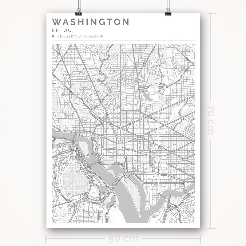 Mapa con estilo Clean de Washington - 50 x 70