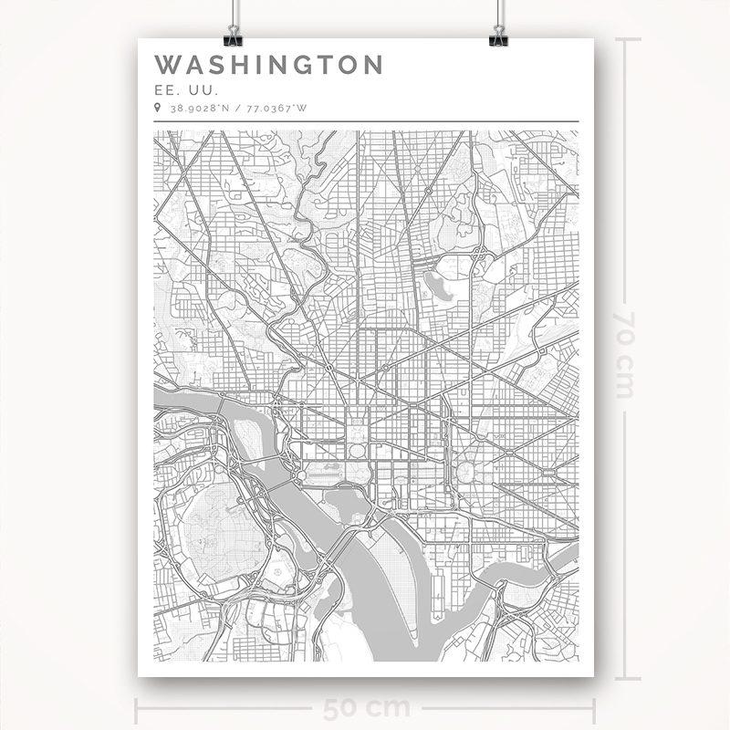 Mapa con estilo Clean de Washington - 50 x 70