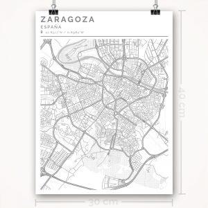 Mapa con estilo Clean de Ciudad de Zaragoza - 30 x 40
