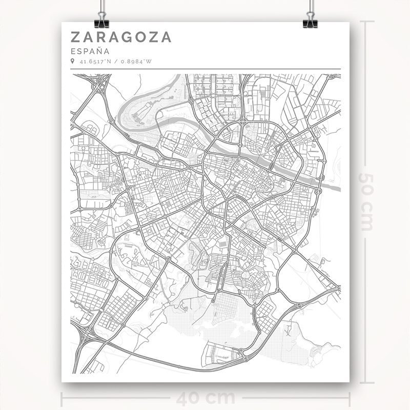 Mapa con estilo Clean de Ciudad de Zaragoza - 40 x 50