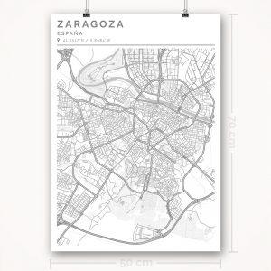 Mapa con estilo Clean de Ciudad de Zaragoza - 50 x 70