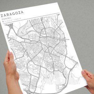 Mapa con estilo Clean de Ciudad de Zaragoza