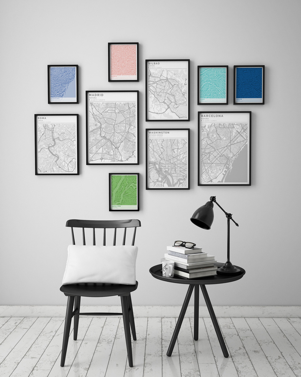 Composición de cuadros con mapas formando un collage