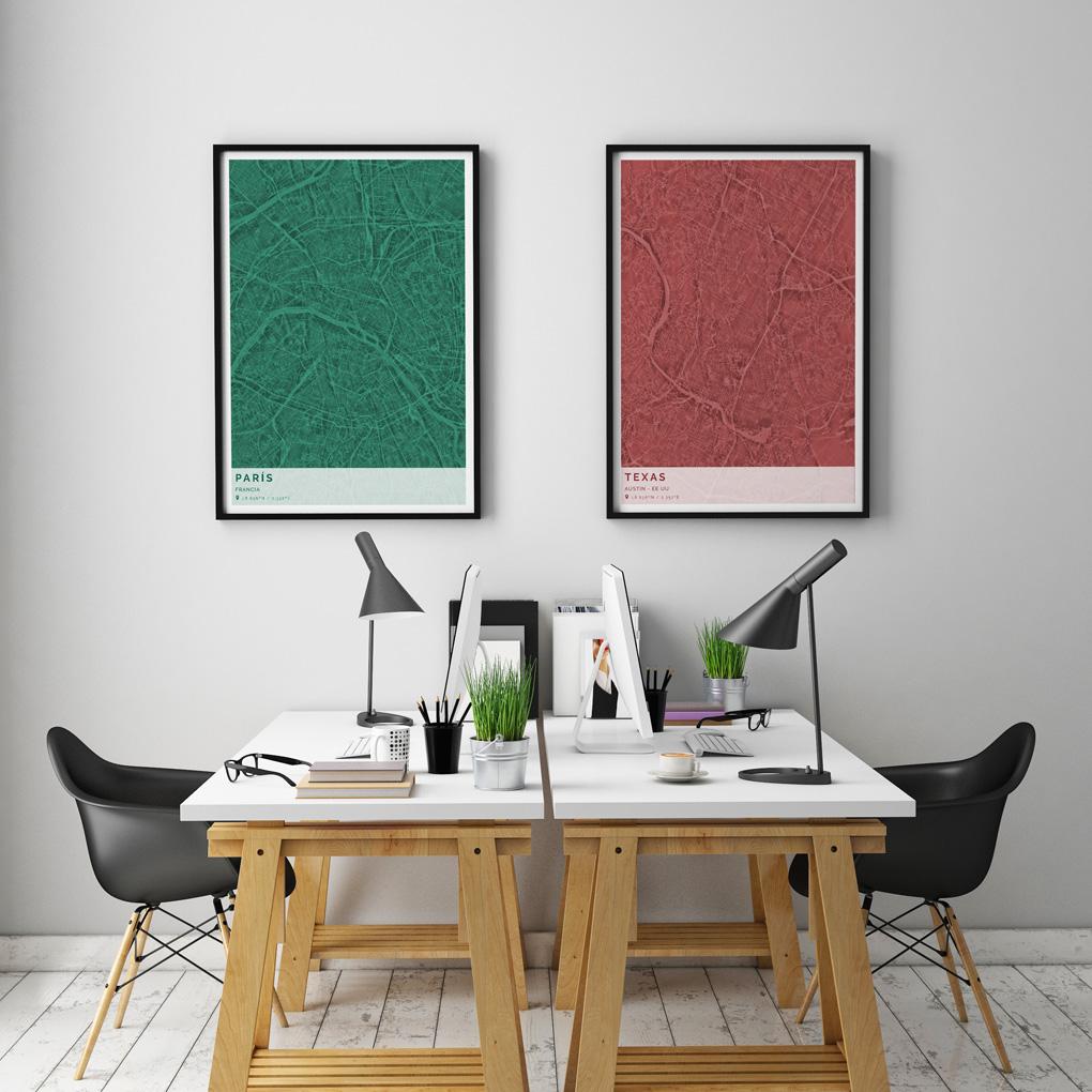 Composición de cuadros con mapas simétricos