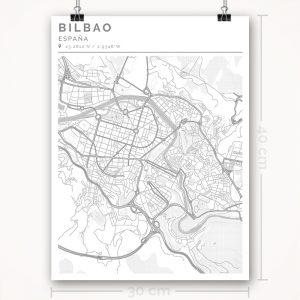 Mapa con estilo Clean de Bilbao - 30 x 40