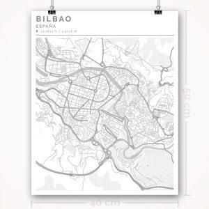 Mapa con estilo Clean de Bilbao - 40 x 50