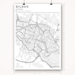 Mapa con estilo Clean de Bilbao - 50 x 70