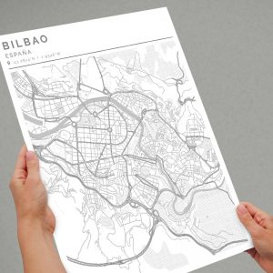 Mapa con estilo Clean de Bilbao