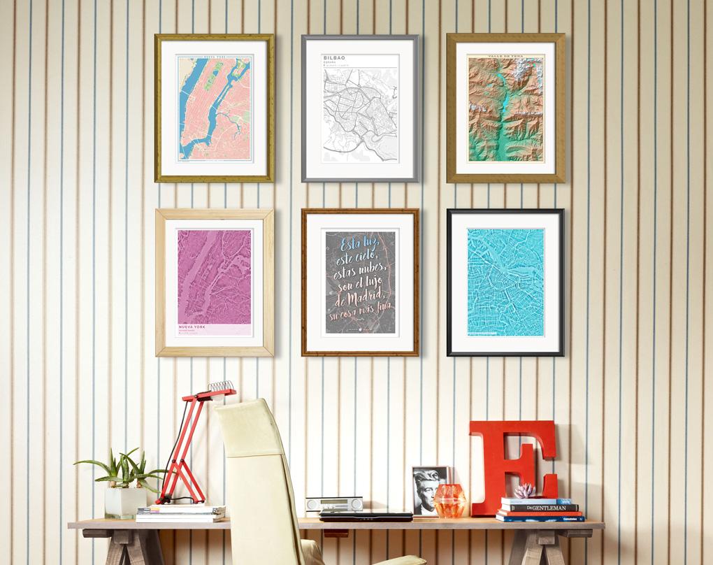 Composición de cuadros con mapas colocados con distintos estilos