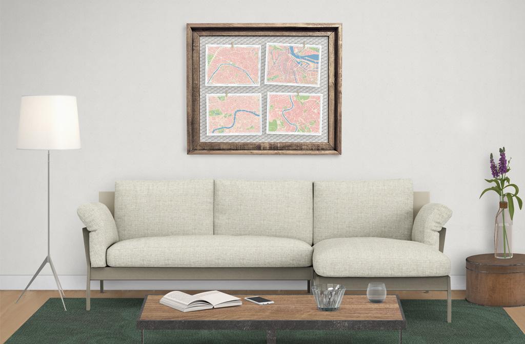 Composición de cuadros con mapas colocados en un marco
