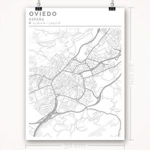 Mapa con estilo Clean de Oviedo - 30 x 40