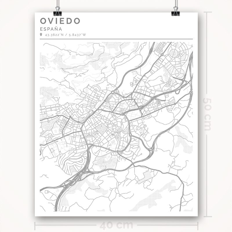 Mapa con estilo Clean de Oviedo - 40 x 50