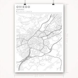 Mapa con estilo Clean de Oviedo - 50 x 70