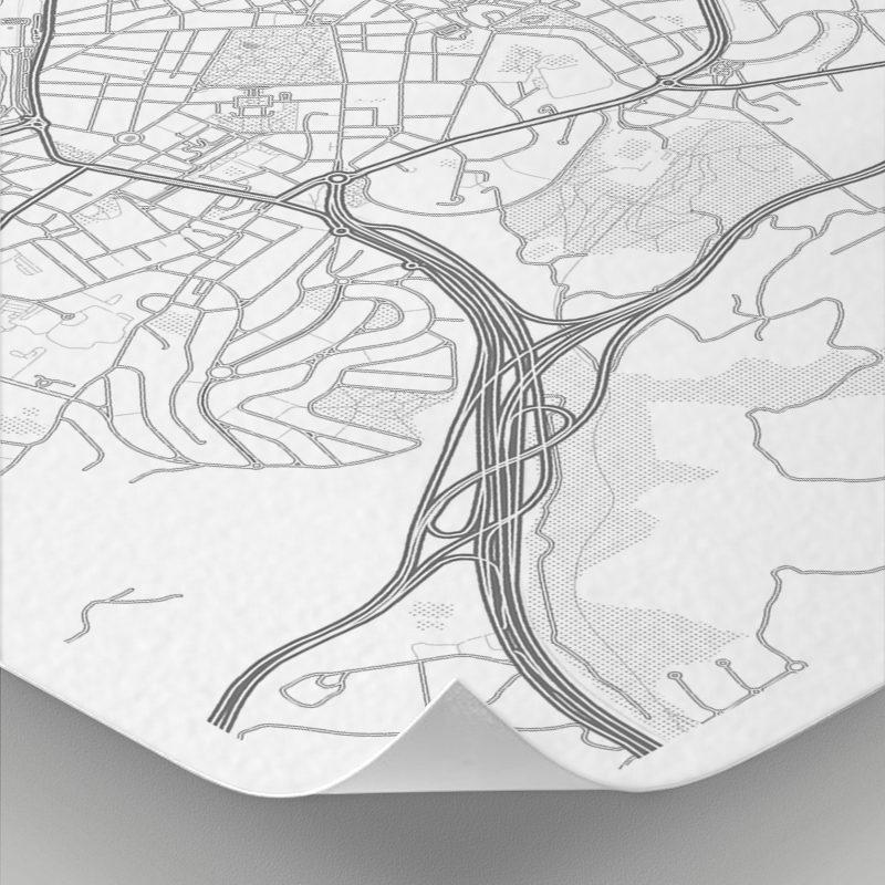 Detalle del mapa con estilo Clean de Oviedo