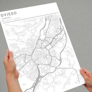 Mapa con estilo Clean de Oviedo